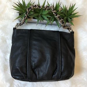 Black Leather Bag with Chain Strap